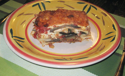 Slice of a vegetarian lasagna